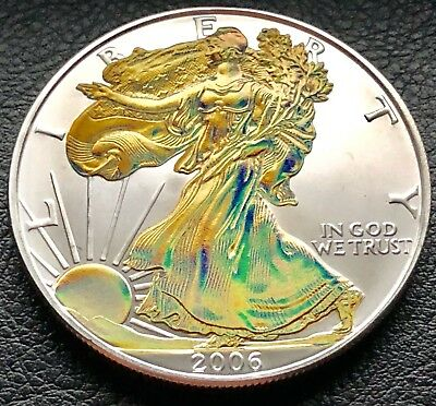 2006 Silver American Eagle Gold Hologram 1 Troy oz .999 Fine silver Coin (8081)