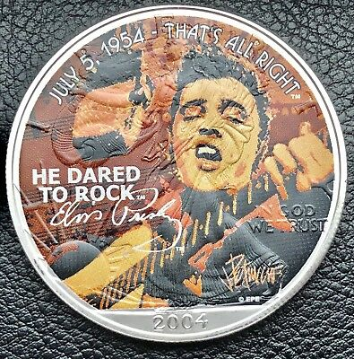 2004 American Eagle Elvis Presley He Dared To Rock 1 oz .999 Silver Coin (6615)