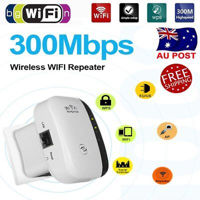 NEW 300Mbps WiFi Repeater Wireless Router Range Extender Signal Booster AU Plug
