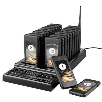 20PCS Restaurant Coaster Pager Guest Call Wireless Queuing Paging Calling System
