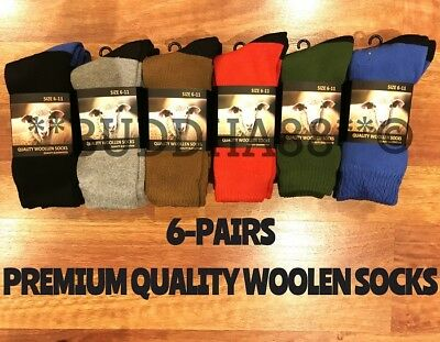 6-Pairs Premium Quality Extra Thick Wool Work Hiking Socks Colors 2-8,6-11,11-14