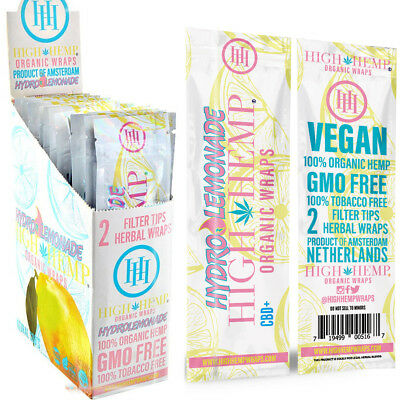 2 Box High Hemp HYDRO LEMONADE Organic Herbal Wraps 50 Pouches (100 Total Wraps)