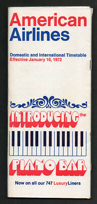 American Airlines System Timetable & Flight Route Map January 10 1972