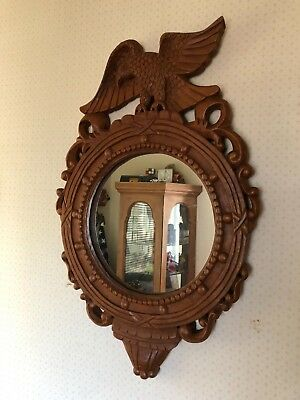 Federal Style Carved Wooden Eagle w Spread Wings Wall Hanging Mirror 24""