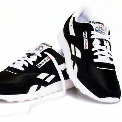 3bf2f333ea4 Reebok Classic Men s Nylon R6604 100% Authentic Black White Sneakers Size  7.5-13