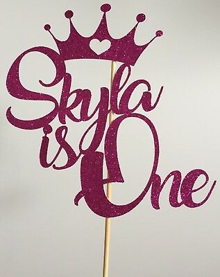 Personalised Princess Crown Cake Topper Birthday 1st One Add Your Name And Age