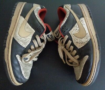 timeless design 493cc 802b4 NIKE Dunk Low Premium Shoes Black Gold Womens Size 7 Free Shipping  313600-021