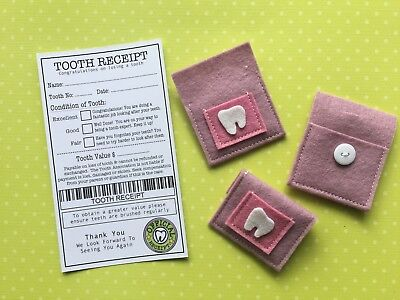 Tooth Fairy Pouch & Tooth Receipt - Handmade - Fairy Door Accessories  - Purple