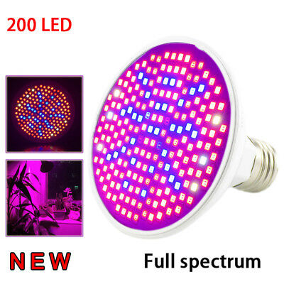 200 Led full spectrum Plant Flower UV Grow Light lamp bulb indoor Veg Greenhouse
