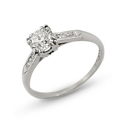 Antique Deco Platinum Natural Diamonds Engagement Ring | 0.56 Carat G/SI1