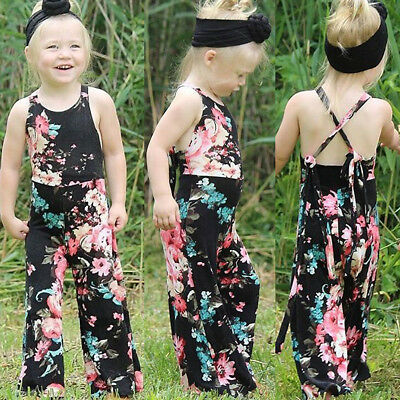 Toddler Kid Baby Girl Floral Romper Jumpsuit Long Pants Trousers Clothes Outfits