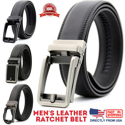 Men's Genuine Leather Adjustable Automatic Buckle Ratchet Golf Dress Belt