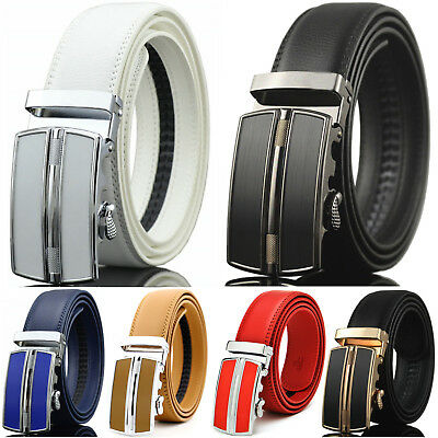 Men's Genuine Leather Dress Belt Adjustable Automatic Buckle Ratchet Belt