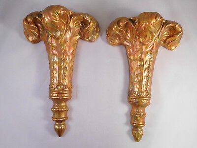 Vintage Pair French Provincial Iridescent Gold Sconce Wall Pocket Vase