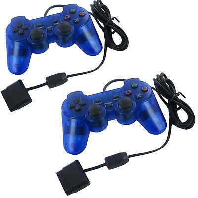 Blue Twin Shock Game Controller Joypad Pad for Sony PS2 Playstation 2 1/2 Pcs