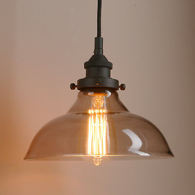 Retro Vintage Pendant Light Industrial Ceiling Lamp Glass Shade Hanging Light
