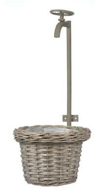 Basket Hanging With Metal Tap Wall Mount Frame Willow Rattan 46Hx24Wcm Grey Wash