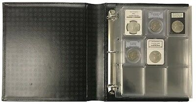 36 Certified NGC PCGS Graded Coin Slab Album Encap Pages Lighthouse Black Binder
