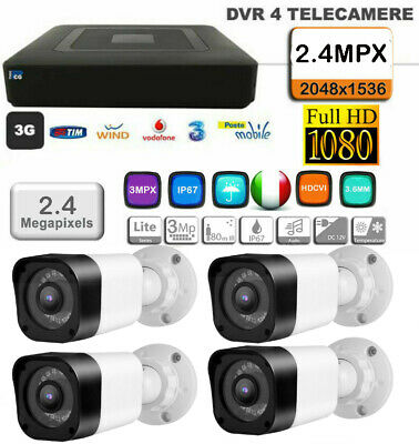 KIT VIDEOSORVEGLIANZA XVR HD1080 + 4 Telecamere SONY HD 1.3MP EFFIO