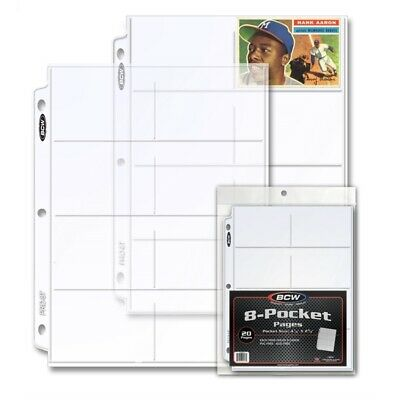Sport Cards Album Pages BCW 20 Poly Pages 8 Pockets For 3 Rings Binders Quality