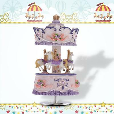 Laxury Windup 3-horse Carousel Music Box Artware/Gift Melody Castle in the Z6B5