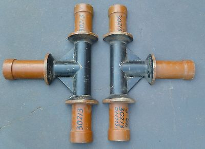 Antique Industrial Wooden Internal Pipe Foundry Pattern Casting Molds (2 Piece)