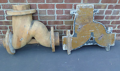 Large Antique Industrial Wooden Pipe Foundry Pattern Casting Molds (2 Piece)