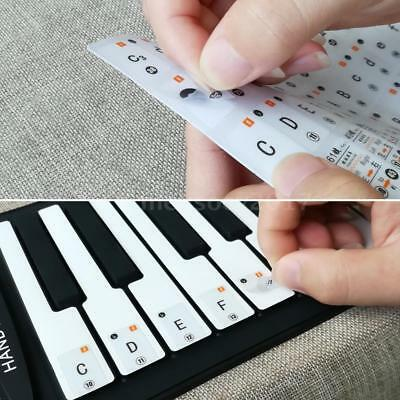 Transparent Piano Keyboard Music Note Stickers Removable for 37/ 49/ 61/ 88 E4U7