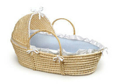 Natural Moses Hooded Basket for Baby With Soft Bumpers and Blue Gingham Bedding