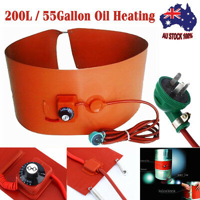 200L/55Gallon Silicon Band Oil Heating Drum Heater for Biodiesel Metal Barrel AU