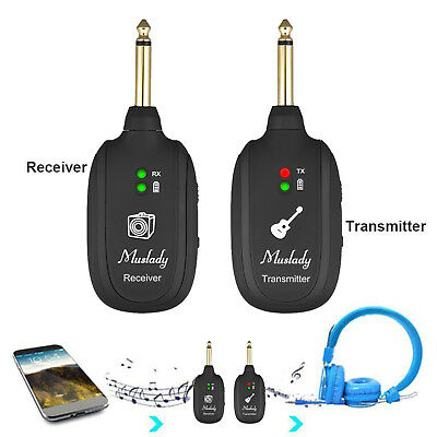 UHF Guitar Wireless System Transmitter Receiver Built-in Rechargeable T0M5