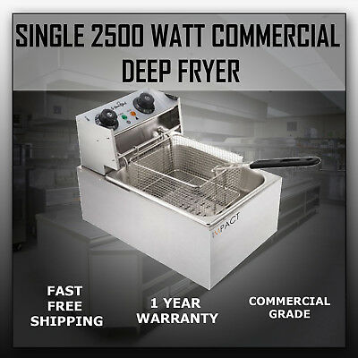 Impact Commercial Stainless Steel Deep Fryer Single 10L 2500W Cooker