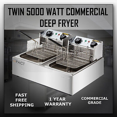 Impact Commercial Twin Double Dual Deep Fryer 5000W 20L Cooker