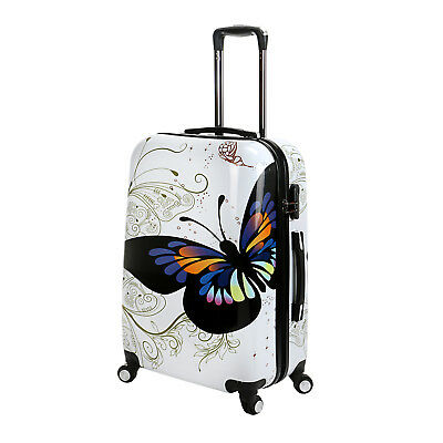 "24"" Hard Shell 4 Wheel Spinner Suitcase Luggage Trolley Case Cabin Hand White"