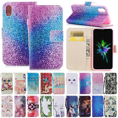 For iPhone X 7 8 Plus Painted Card Wallet Case Leather Flip Stand Magnetic Cover