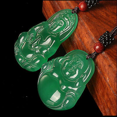A Pair Of Natural Green Agate Chalcedony Hand-carved Quan Yin and Buddha Pendant