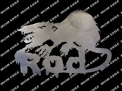 Rat Rod Scary Evil Vicious Rat Metal Sign Grill Insert Wall Art Iron Exile USA