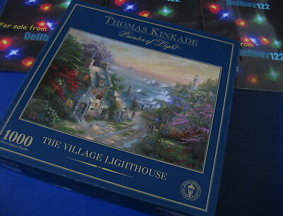 Thomas Kinkade The Village Lighthouse Gibsons 1000 Piece Jigsaw VGOOD Condition