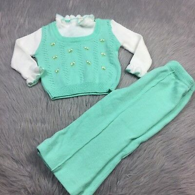 Vtg 1970s Toddler Girls Mint White Knit Sweater Top Pants Set Toddletime