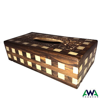 Wooden Style Brand New Tissue Paper Box cover Hand made carved Antique Vintage