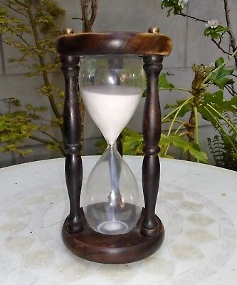 "Lovely Large Hand Crafted Wooden Hourglass Sand Timer. Approx 11"" Tall"
