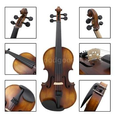 Vintage Matte Finished 4/4 Full Size Acoustic Violin Kit with Bow Hard Case M8Q1