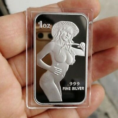 Sexy, Neighbors Cowgirl, 1 Troy oz .999 Fine Silver Bullion Proof Bar. New!