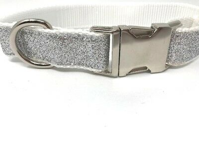 Adjustable Silver Glitter, Blingy, Large Dog Collar With Silver Hardware