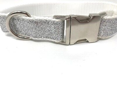 Adjustable Silver Glitter, Blingy, Medium Dog Collar With Silver Hardware