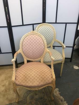 Lovely Cream Painted French Louis Fauteuil Style  Carved Armchair In Pink