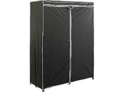 Fabric Covered Double Collapsible Clothes Rail Wardrobe - Black  (gf10)