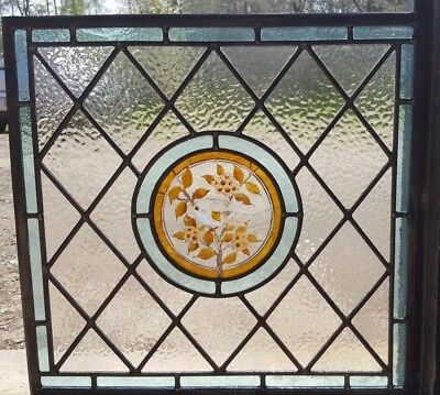 Stained Glass Panel With Hand-Painted Bird Center