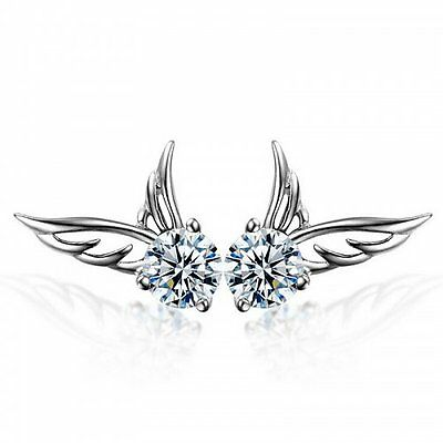 Fashion Women 925 Sterling Silver Jewelry Angel Wings Crystal Ear Stud Earrings/