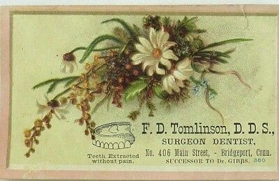 1880's-90's F. D. Tomlinson D.D.S. Surgeon Dentist Teeth Extracted No Pain P92
